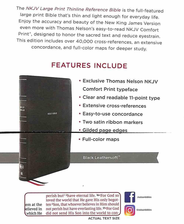 NKJV Thinline Reference Bible Large Print Black (Red Letter Edition) Premium Imitation Leather