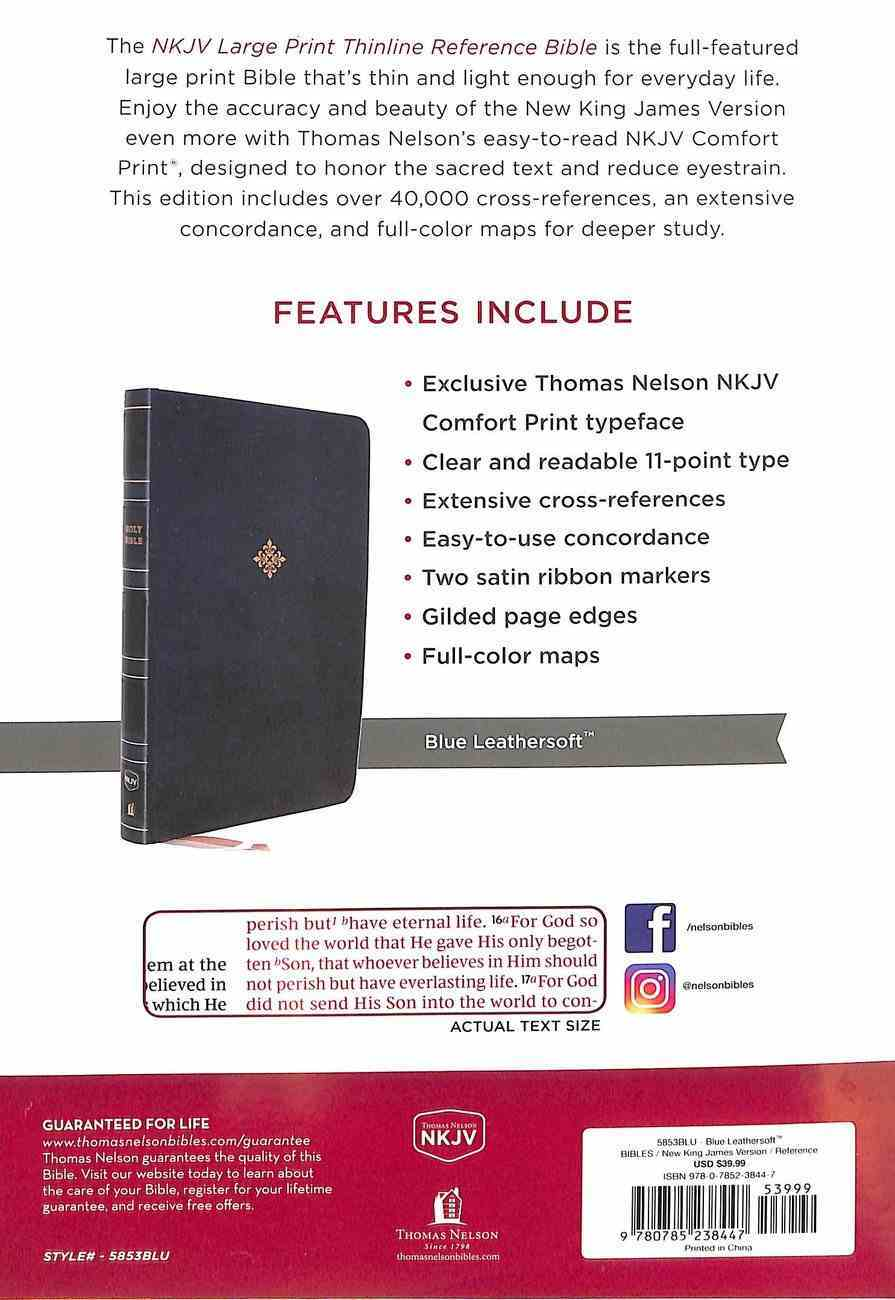 NKJV Thinline Reference Bible Large Print Blue (Red Letter Edition) Premium Imitation Leather