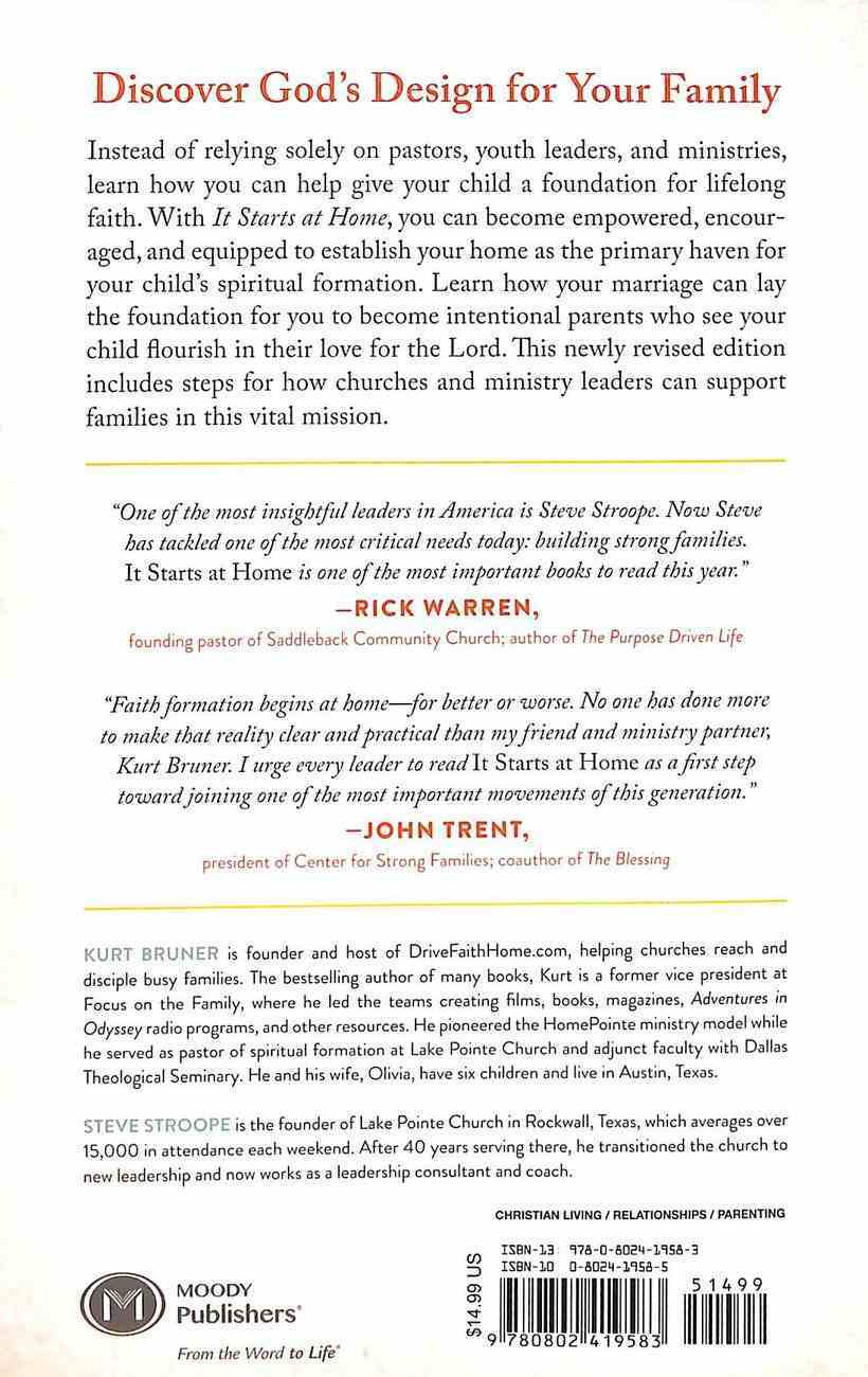 It Starts At Home: A Practical Guide to Nurturing Lifelong Faith Paperback