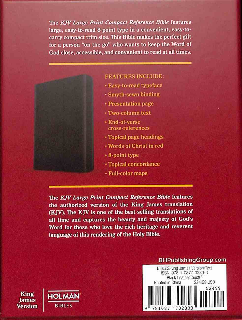 KJV Large Print Compact Reference Bible Black With Magnetic Flap (Red Letter Edition) Imitation Leather