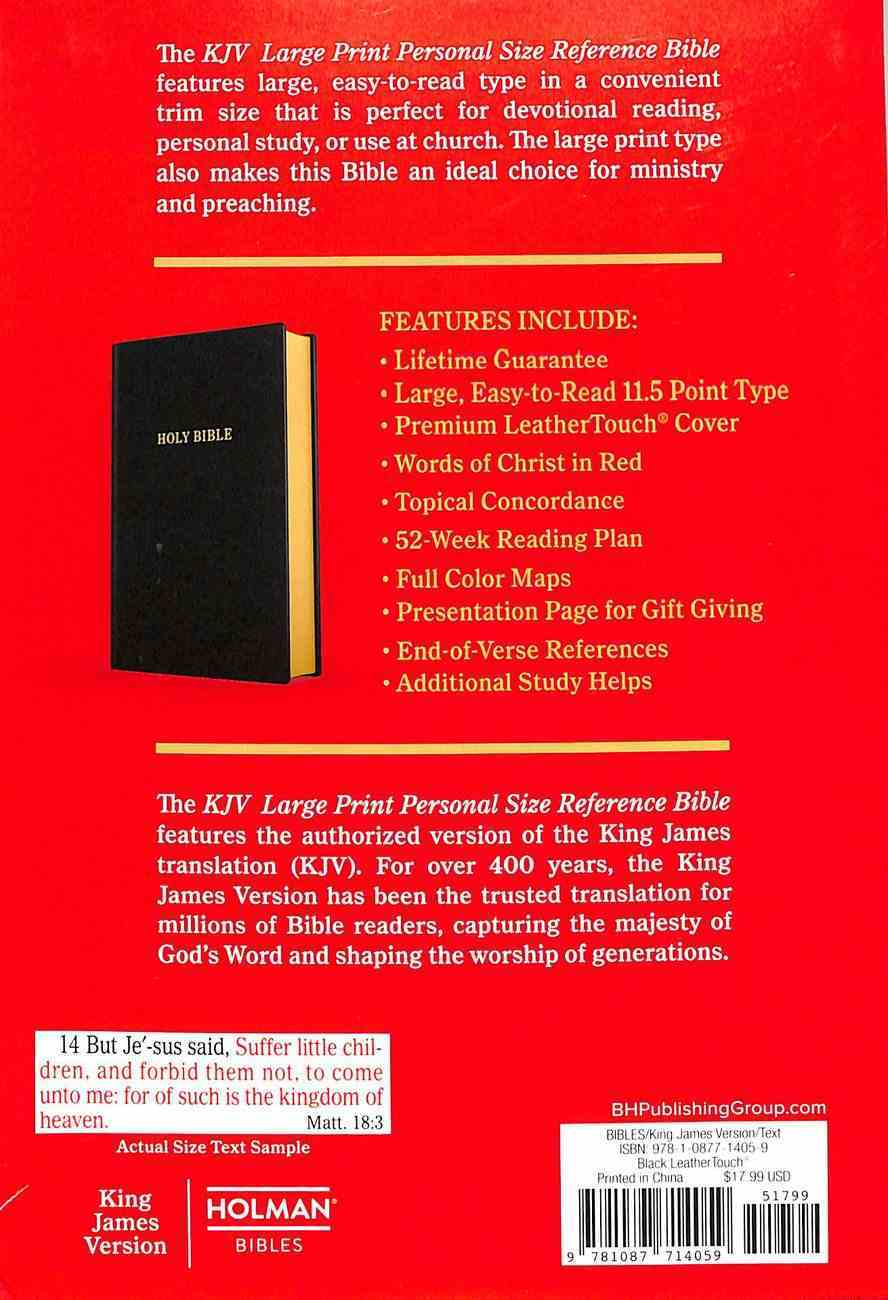 KJV Holy Bible Large Print Personal Size Reference Bible Black (Red Letter Edition) Premium Imitation Leather