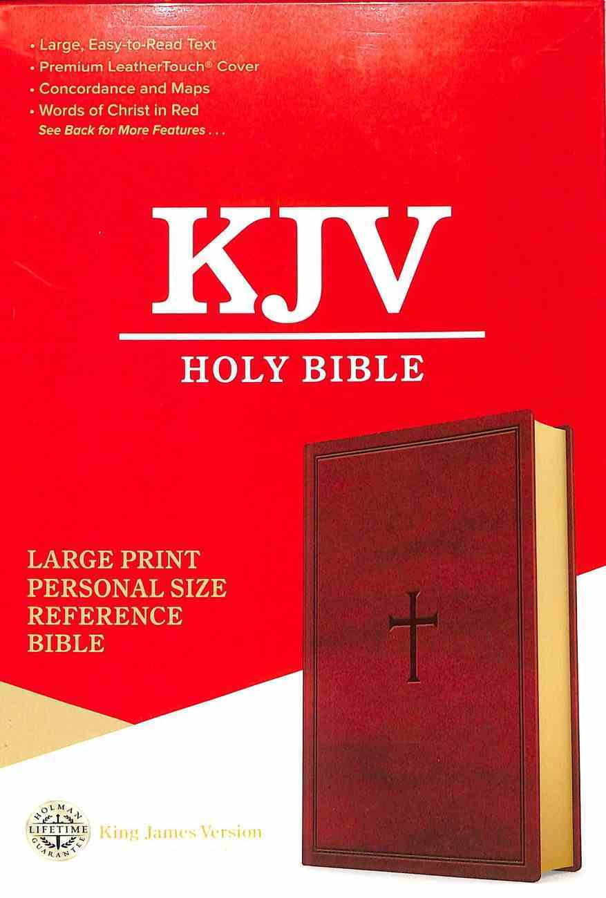KJV Holy Bible Large Print Personal Size Reference Bible Brown (Red Letter Edition) Premium Imitation Leather