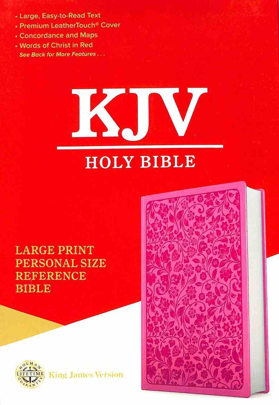 KJV Holy Bible Large Print Personal Size Reference Bible Pink (Red Letter Edition) Premium Imitation Leather