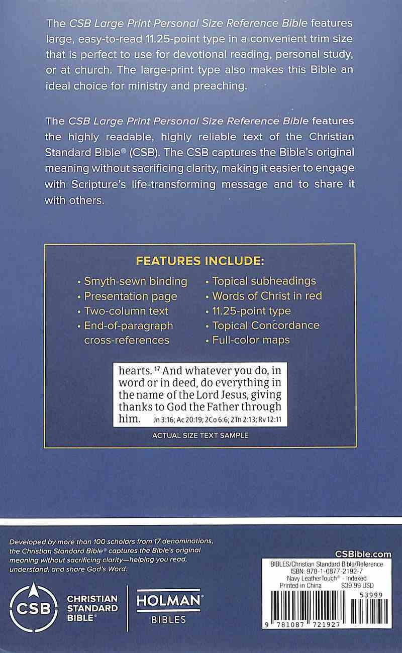 CSB Large Print Personal Size Reference Bible Navy Indexed (Red Letter Edition) Imitation Leather