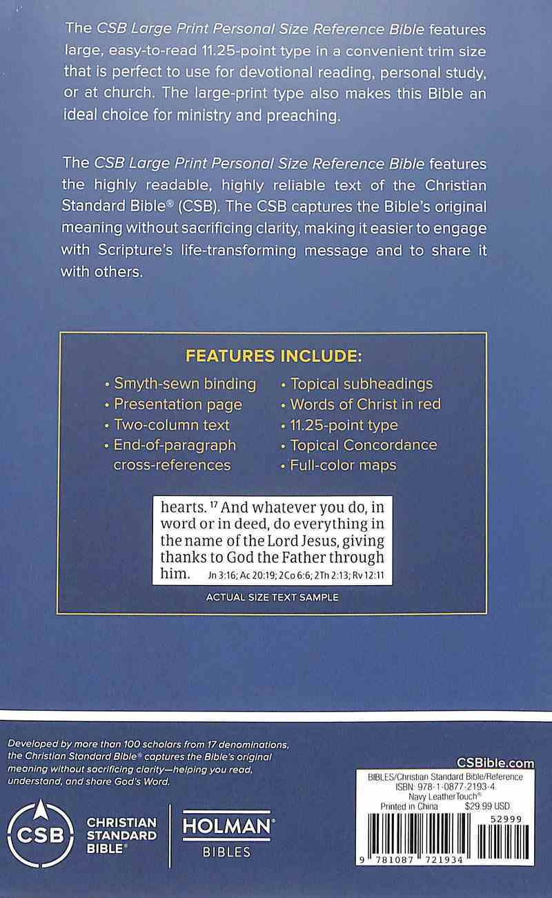 CSB Large Print Personal Size Reference Bible Navy (Red Letter Edition) Imitation Leather