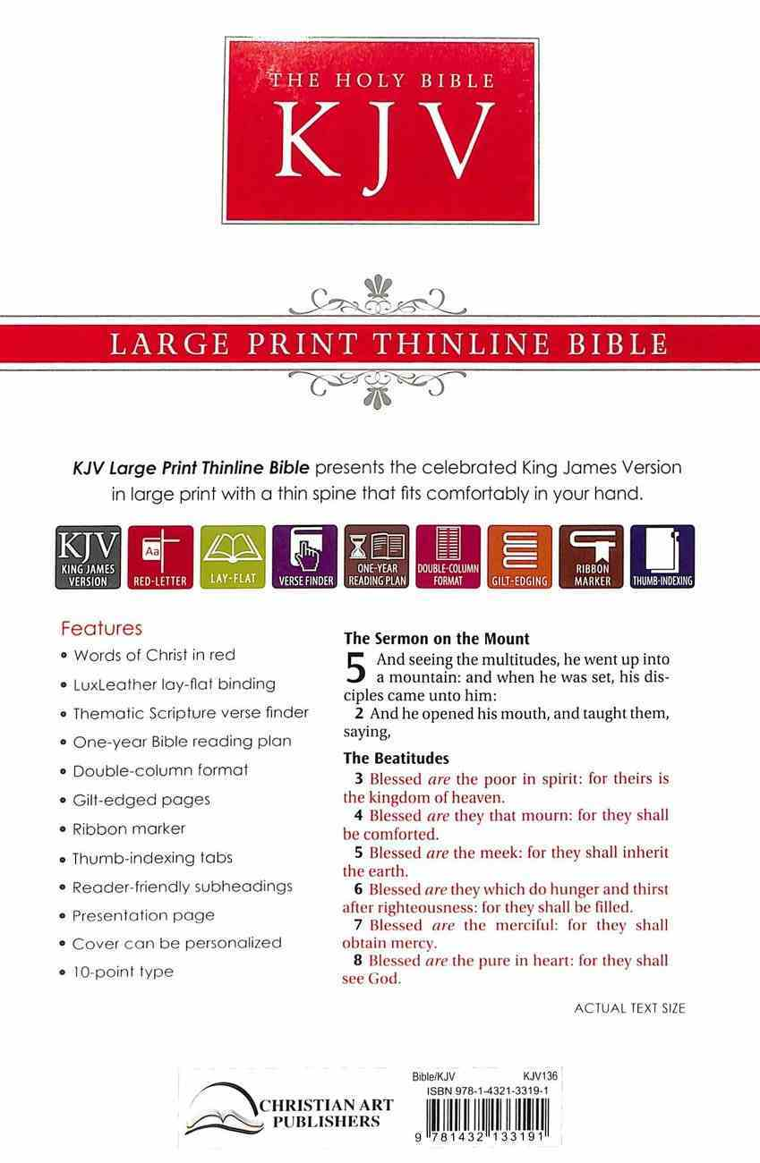 KJV Large Print Thinline Bible Indexed Dusty Brown With Flowers (Red Letter Edition) Imitation Leather