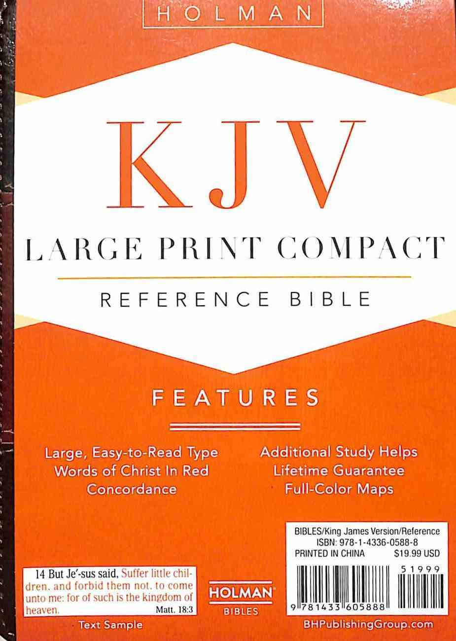 KJV Large Print Compact Reference Bible Saddle Brown Premium Imitation Leather