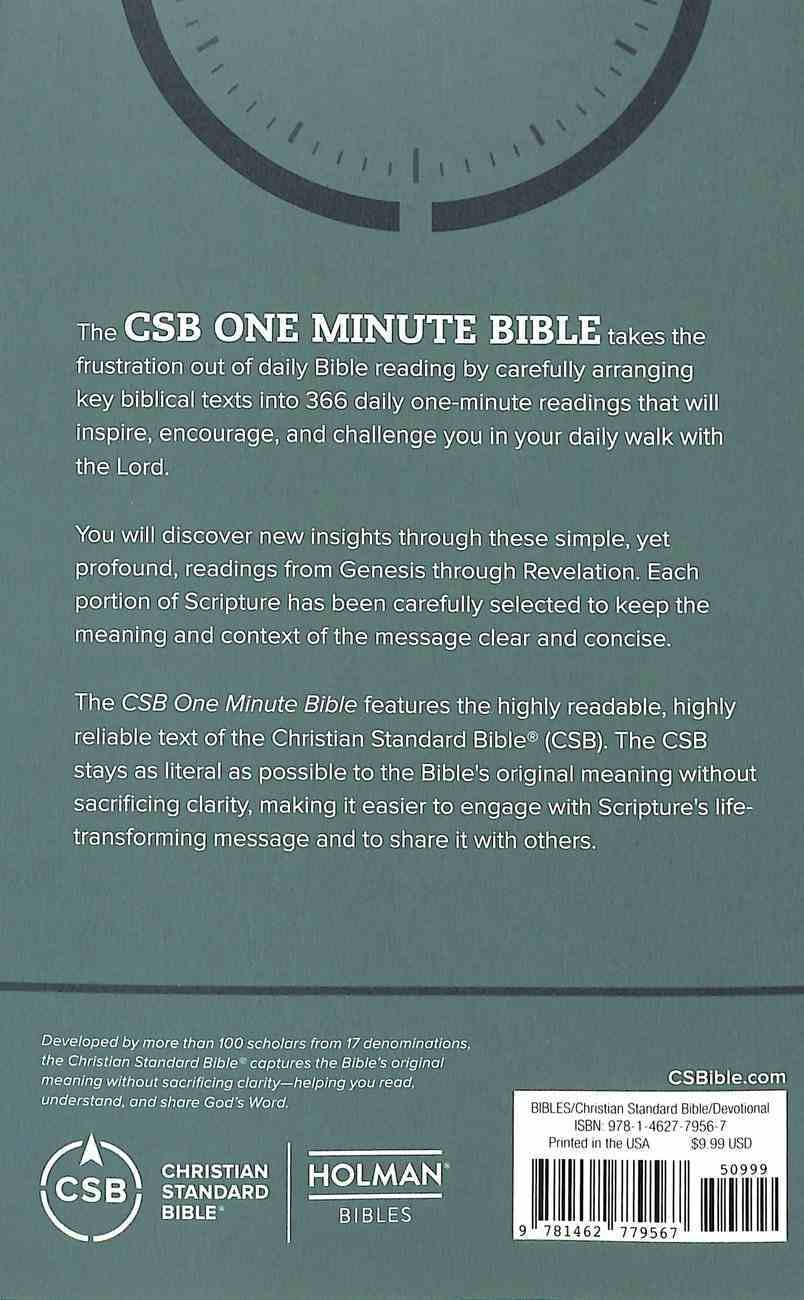 CSB One Minute Bible: Scripture Portions For Daily Devotion Paperback