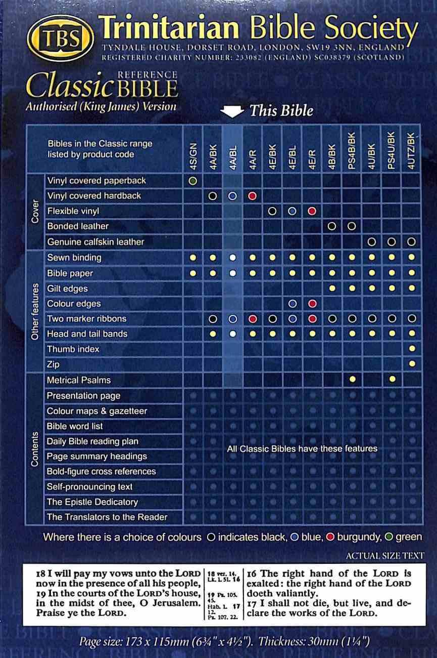 KJV Classic Reference Holy Bible Blue (Black Letter Edition) Hardback