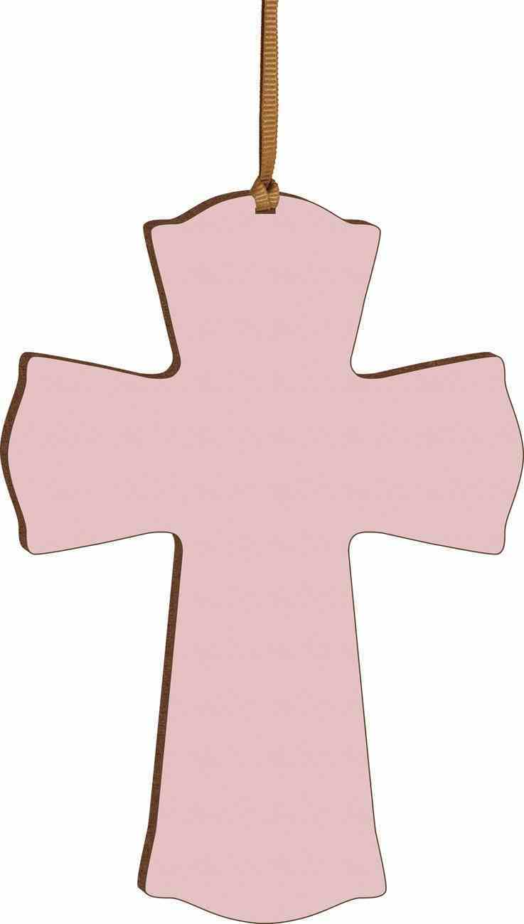 Cross: Mini, Pink With Ribbon Hanger Plaque