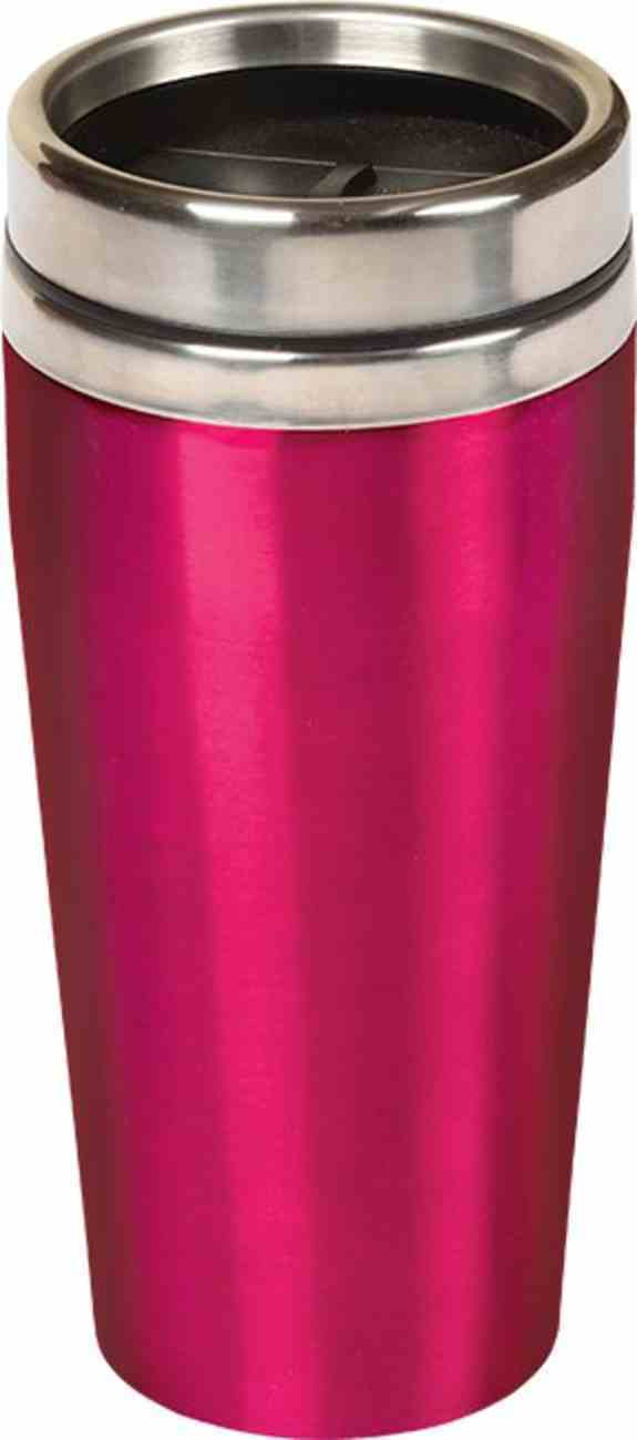 Stainless Steel Travel Mug: Pink With Silver Lid, 473 ML Homeware