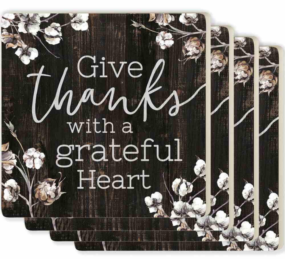Ceramic Square Coaster: Give Thanks With a Greatful Heart, Cork Back (4 Pack) Homeware