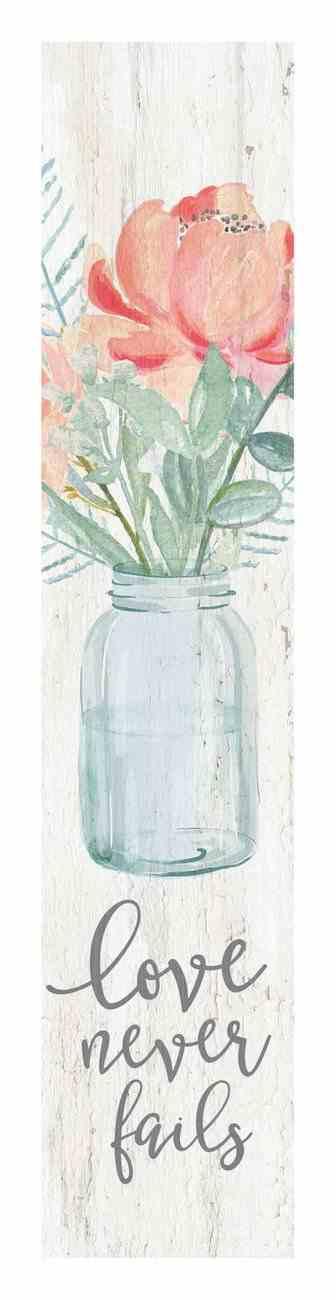 Tabeltop Decor: Love Never Fails, Vase of Flowers Plaque