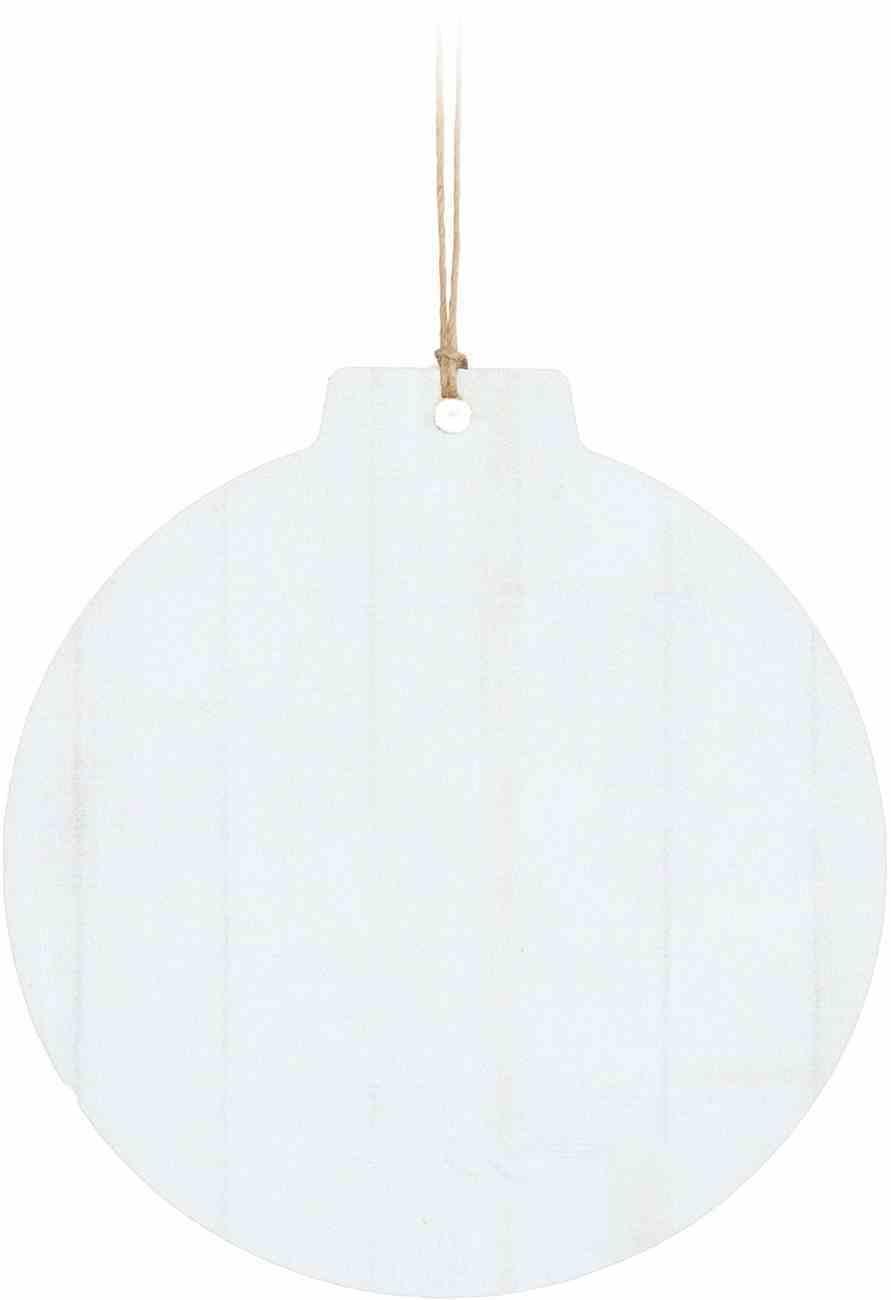 Christmas Mdf Ornament: White Faux, Round Shape Homeware