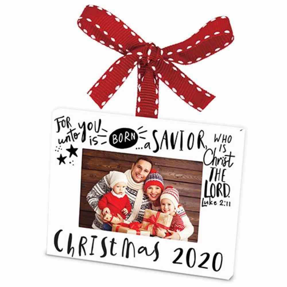 Christmas Ornament Frame: Christmas 2020, White Metal Finish With Ribbon Homeware
