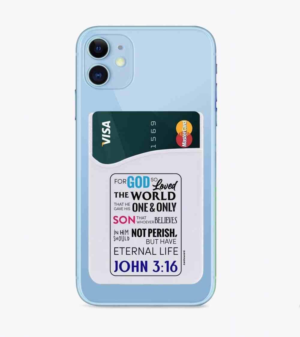 Smart Phone Card Holder John 3: 16 White General Gift