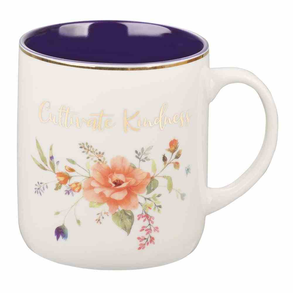 Ceramic Mug Cultivate Kindness, White Floral With Purple Inside (414ml) (Cultivate Kindness Collection) Homeware