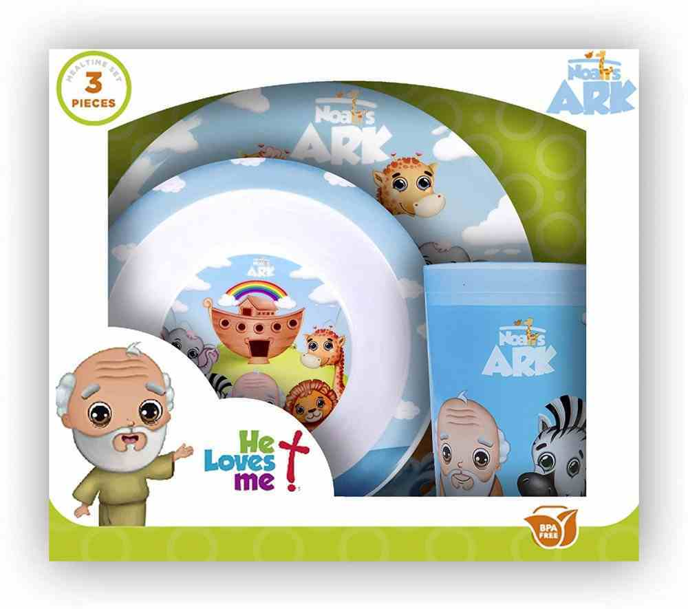 Noah's Ark Bpa Free, Top Rack Dishwasher Safe, Do Not Microwave (3 Piece Set) (He Loves Me Dinnerware Series) Homeware
