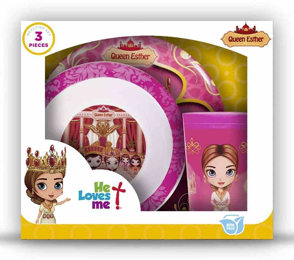Queen Esther Bpa Free, Top Rack Dishwasher Safe, Do Not Microwave (3 Piece Set) (He Loves Me Dinnerware Series) Homeware