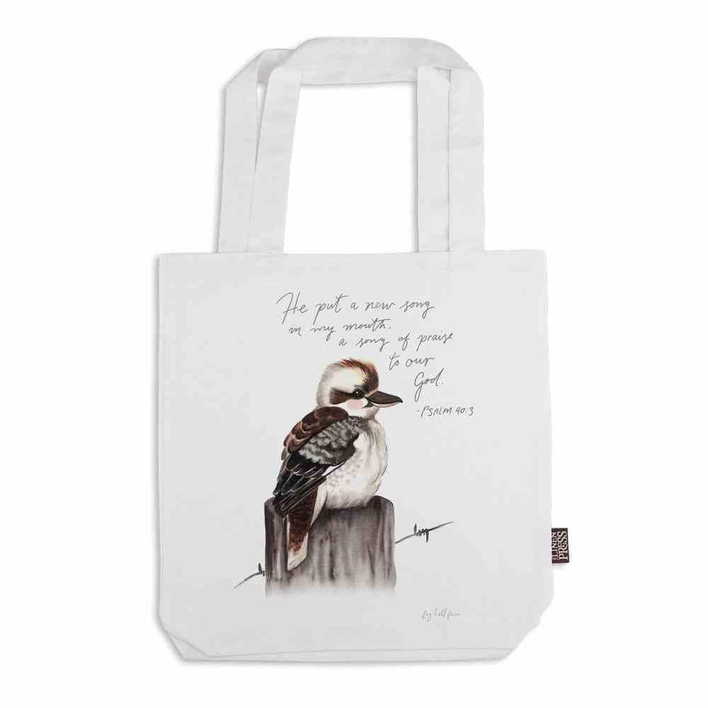 Tote Bag Organic White Kit Kookaburra (Aco Certified Organic Cotton) (A New Song- Ps 40: 3) (Australiana Products Series) Homeware