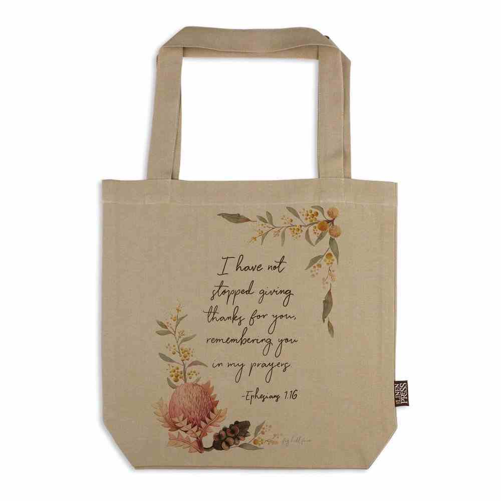 Tote Bag Organic Beige (Aco Certified Organic Cotton) (Giving Thanks- Eph 1: 16) (Australiana Products Series) Homeware