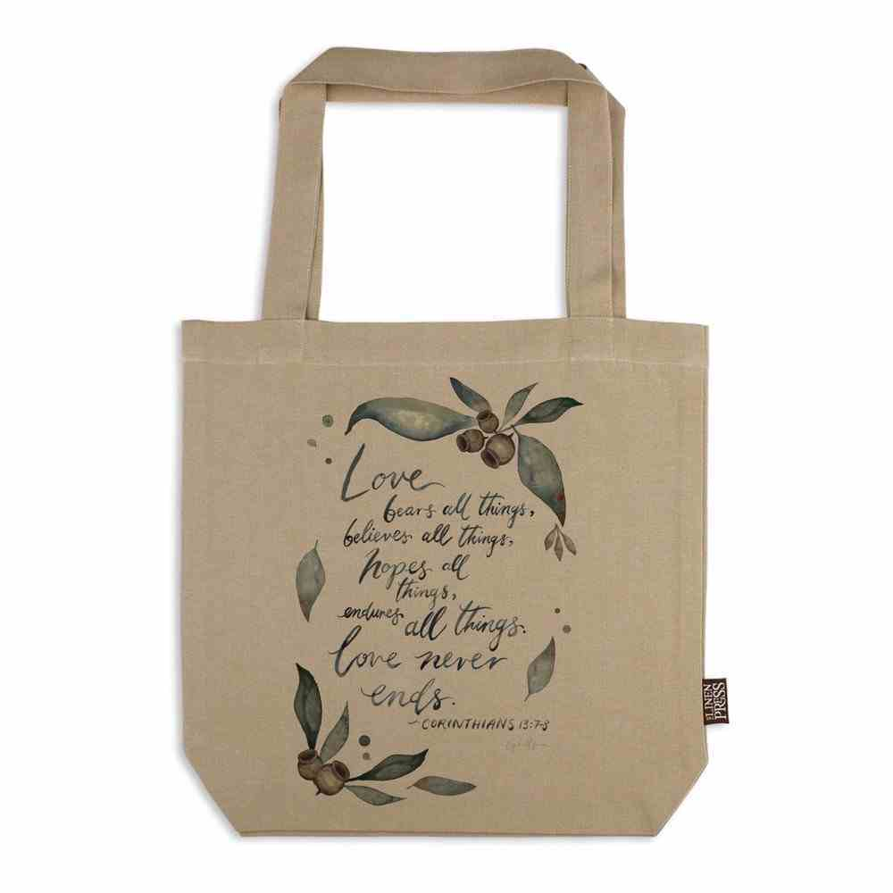 Tote Bag Organic Beige (Aco Certified Organic Cotton) (Love Never Ends-1 Cor 13: 7-8) (Australiana Products Series) Homeware