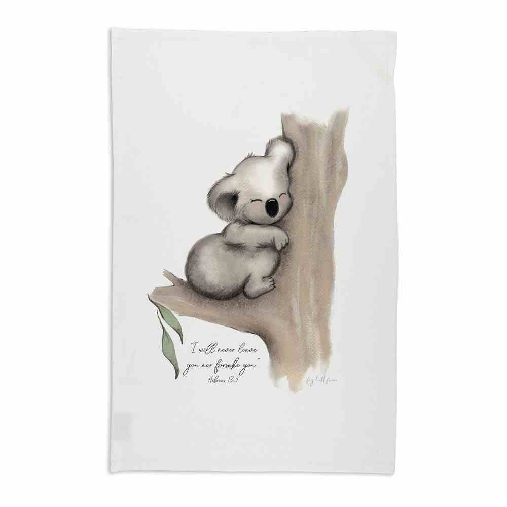 Tea Towel Organic White Karla Koala (Aco Certified Organic Cotton) (I Will Never Leave You- Heb 13: 5) (Australiana Products Series) Homeware
