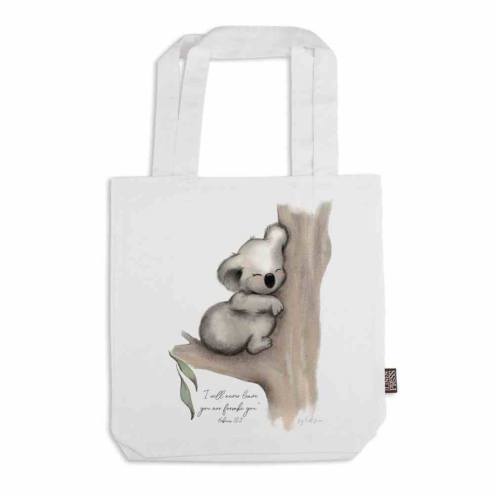 Tote Bag Organic White Karla Koala (Aco Certified Organic Cotton) (I Will Never Leave You- Heb 13: 5) (Australiana Products Series) Homeware