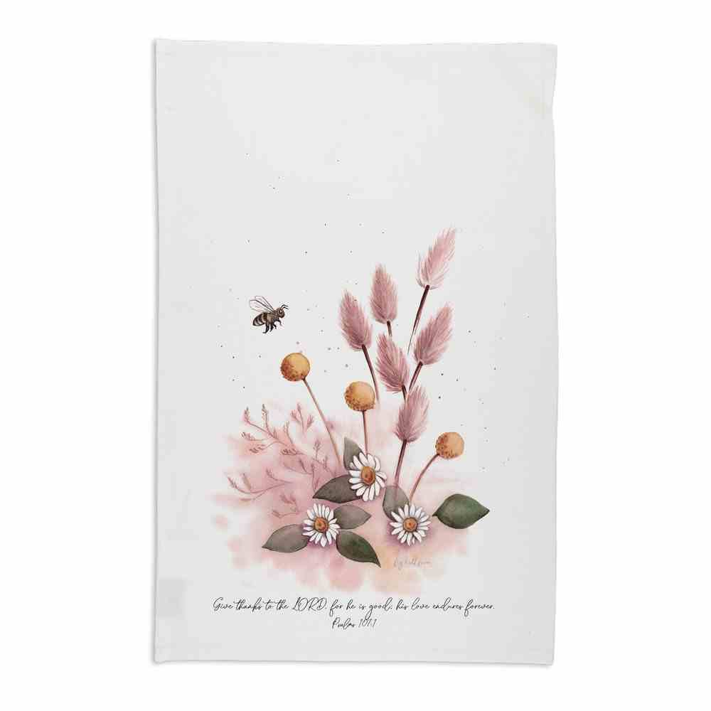 Tea Towel Organic White (Aco Certified Organic Cotton) (Give Thanks to the Lord- Ps 107: 1) (Australiana Products Series) Homeware