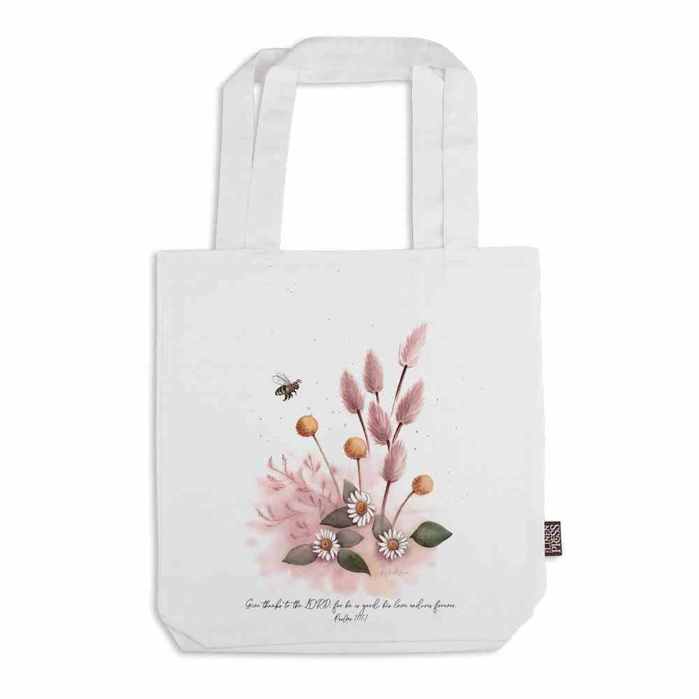 Tote Bag Organic White (Aco Certified Organic Cotton) (Give Thanks to the Lord Ps 107: 1) (Australiana Products Series) Homeware