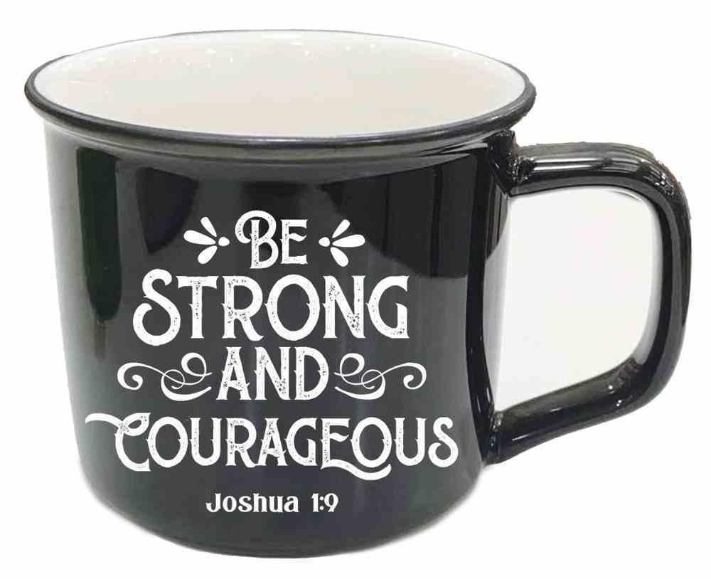 Ceramic Mug: Be Strong and Courageous, Joshua 1:9, Black Homeware