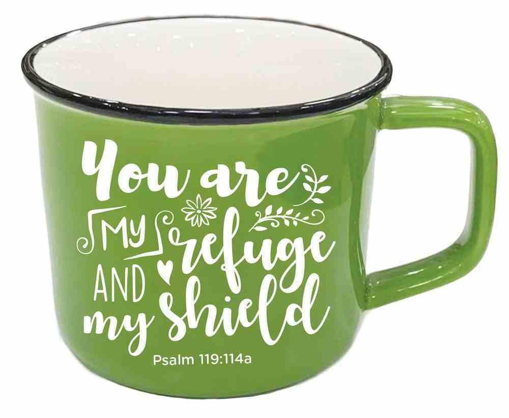 Ceramic Mug: You Are My Refuge and My Shield, Psalm 119:114a, Green Homeware
