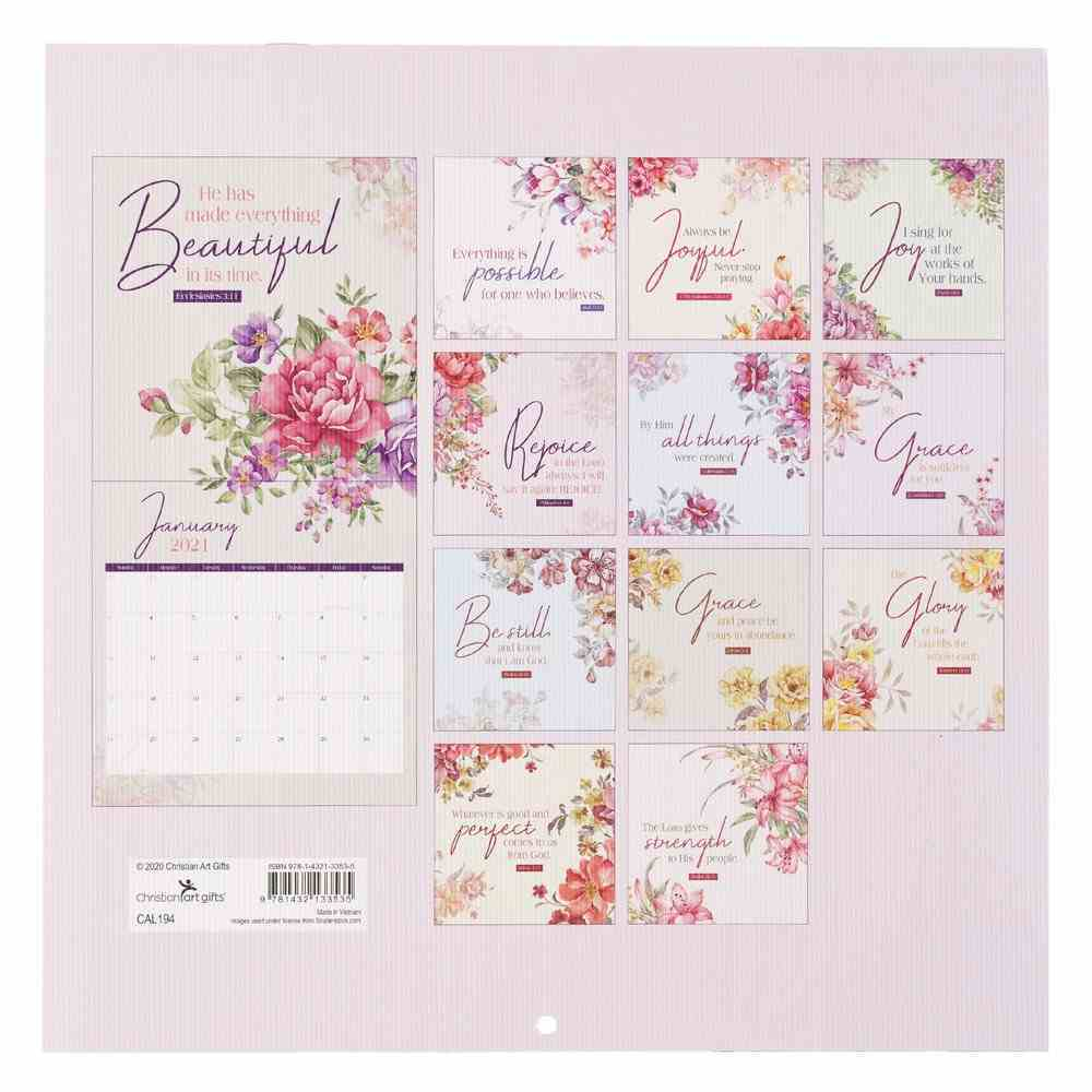 2021 12-Month Large Calendar: Bloom Where You Are Planted Calendar