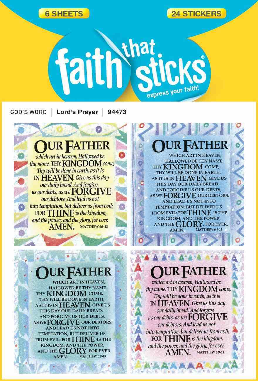 Lord's Prayer, the (6 Sheets, 24 Stickers) (Our Father) (Stickers Faith That Sticks Series) Stickers