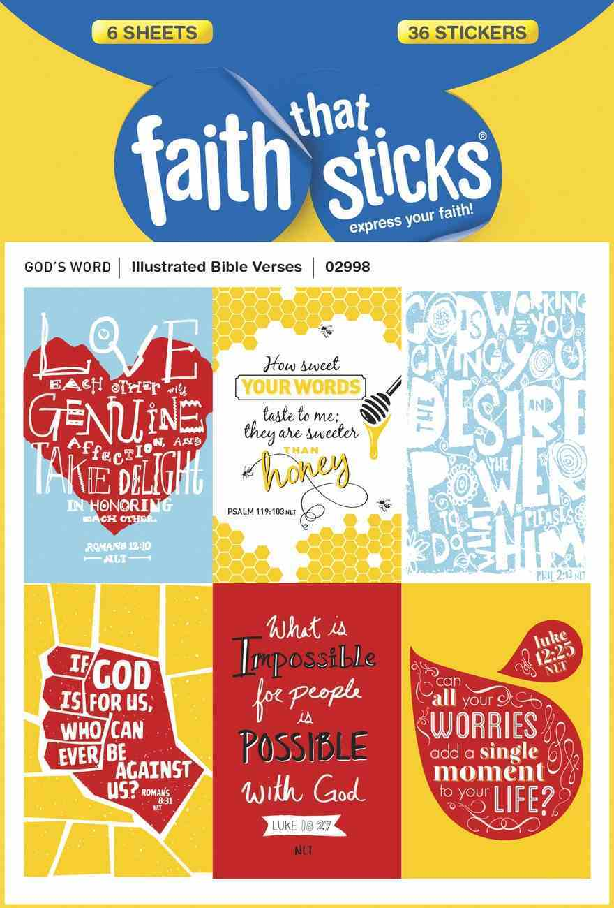 Illustrated Bible Verses (6 Sheets, 36 Stickers) (Stickers Faith That Sticks Series) Stickers
