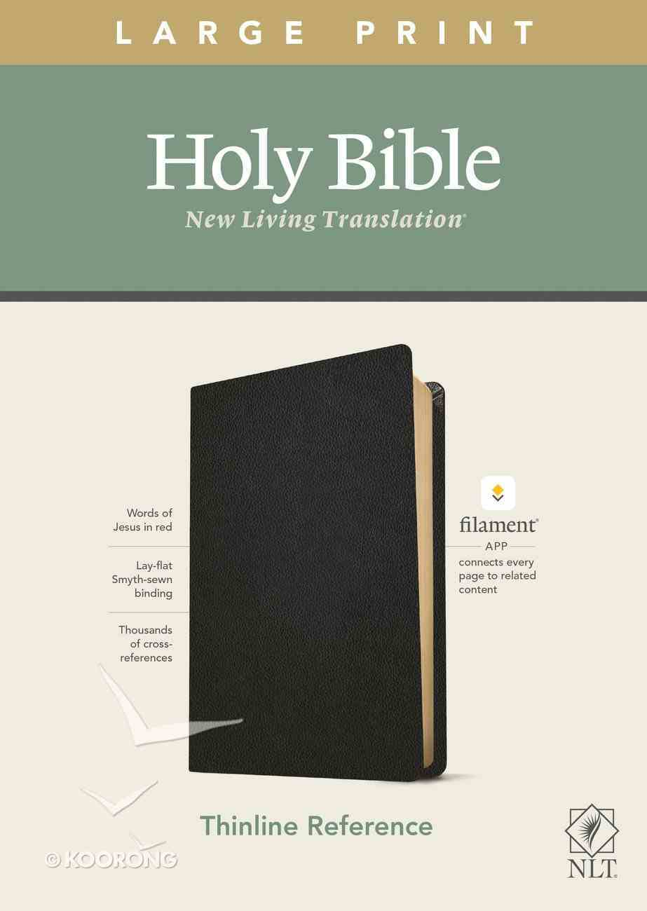 NLT Large Print Thinline Reference Bible Genuine Leather Black Red Letter (Filament Enabled Edition) Genuine Leather