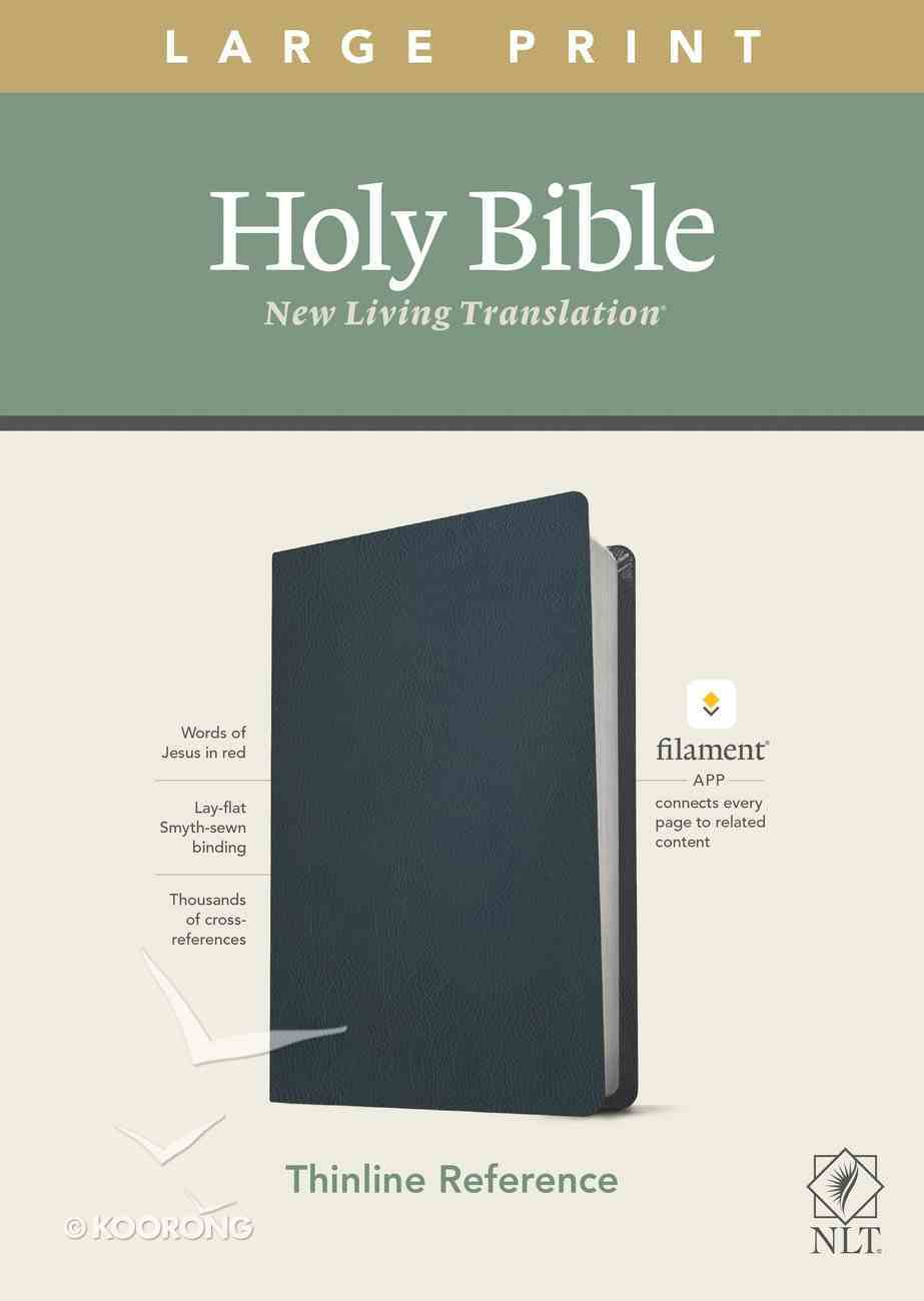 NLT Large Pribnt Thinline Reference Bible Blue Red Letter (Filament Enabled Edition) Genuine Leather