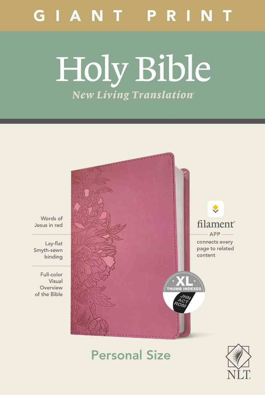NLT Personal Size Giant Print Bible Filament Enabled Edition Indexed Peony Pink (Red Letter Edition) Imitation Leather