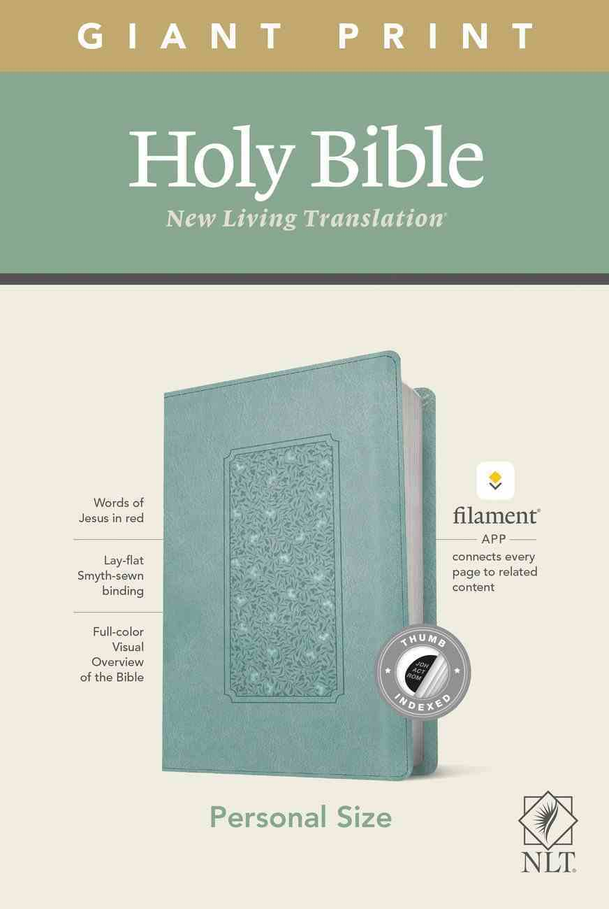 NLT Personal Size Giant Print Bible Filament Enabled Edition Indexed Floral Teal (Red Letter Edition) Imitation Leather