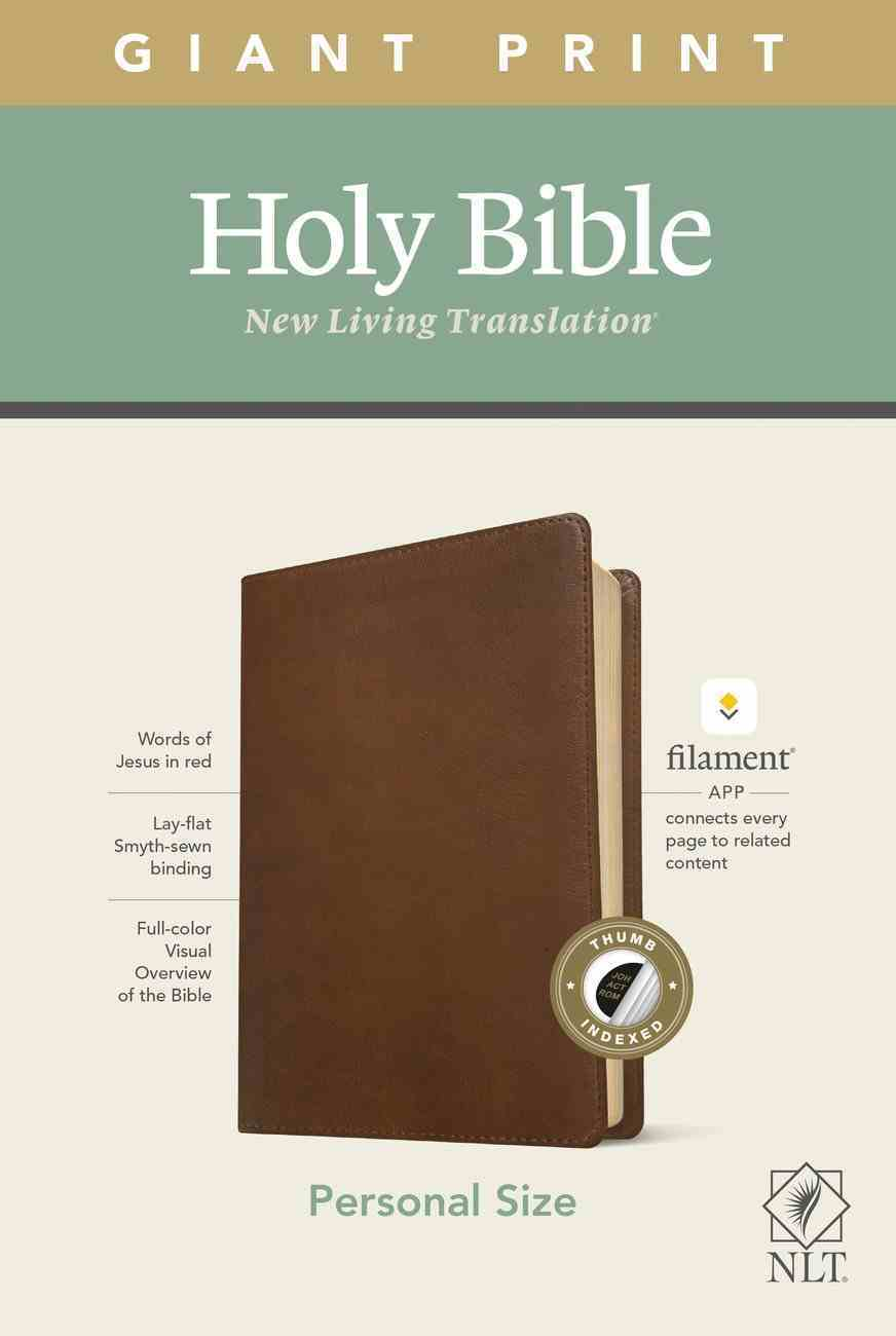 NLT Personal Size Giant Print Bible Filament Enabled Edition Indexed Rustic Brown (Red Letter Edition) Imitation Leather