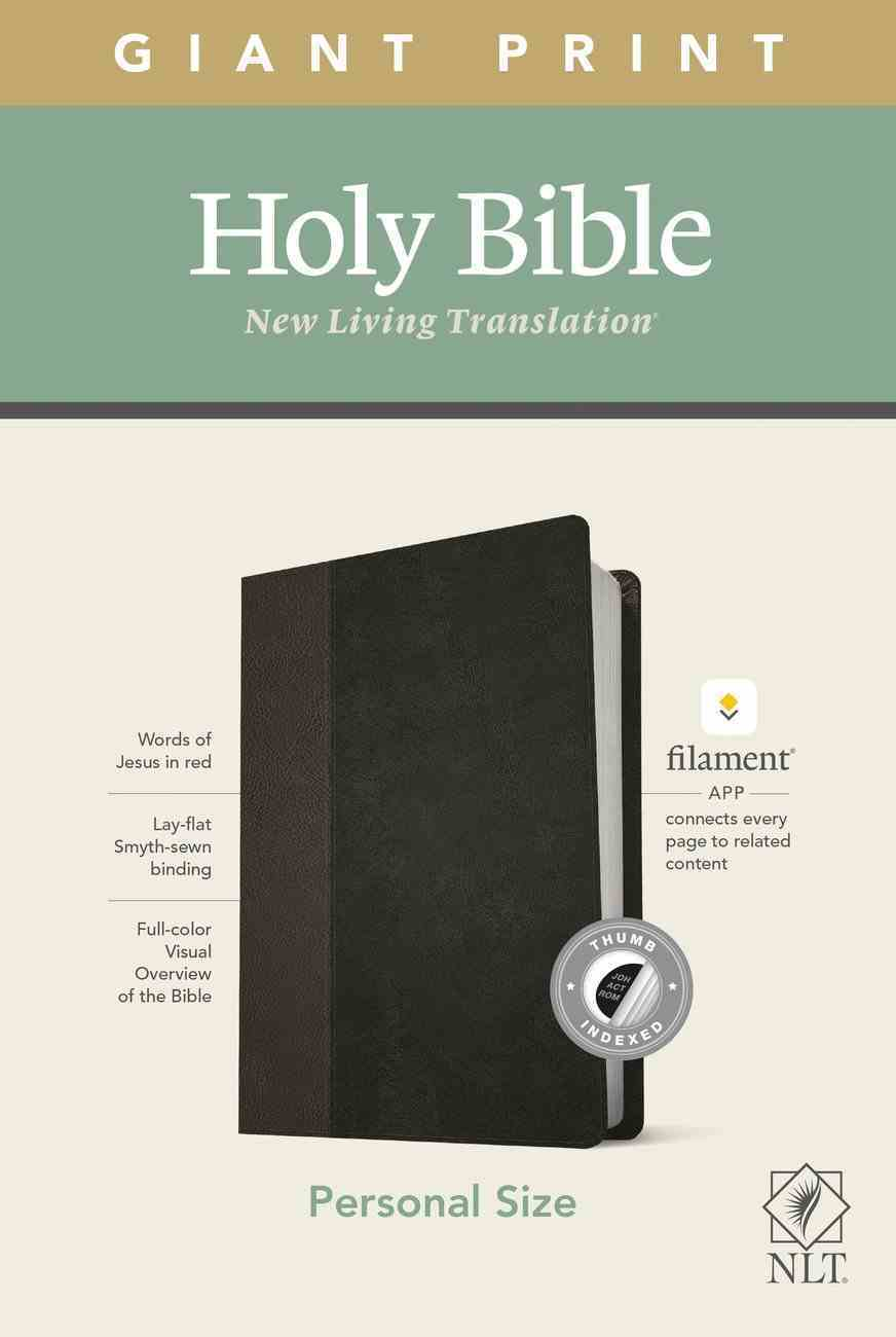 NLT Personal Size Giant Print Bible Filament Enabled Edition Indexed Black/Onyx (Red Letter Edition) Imitation Leather