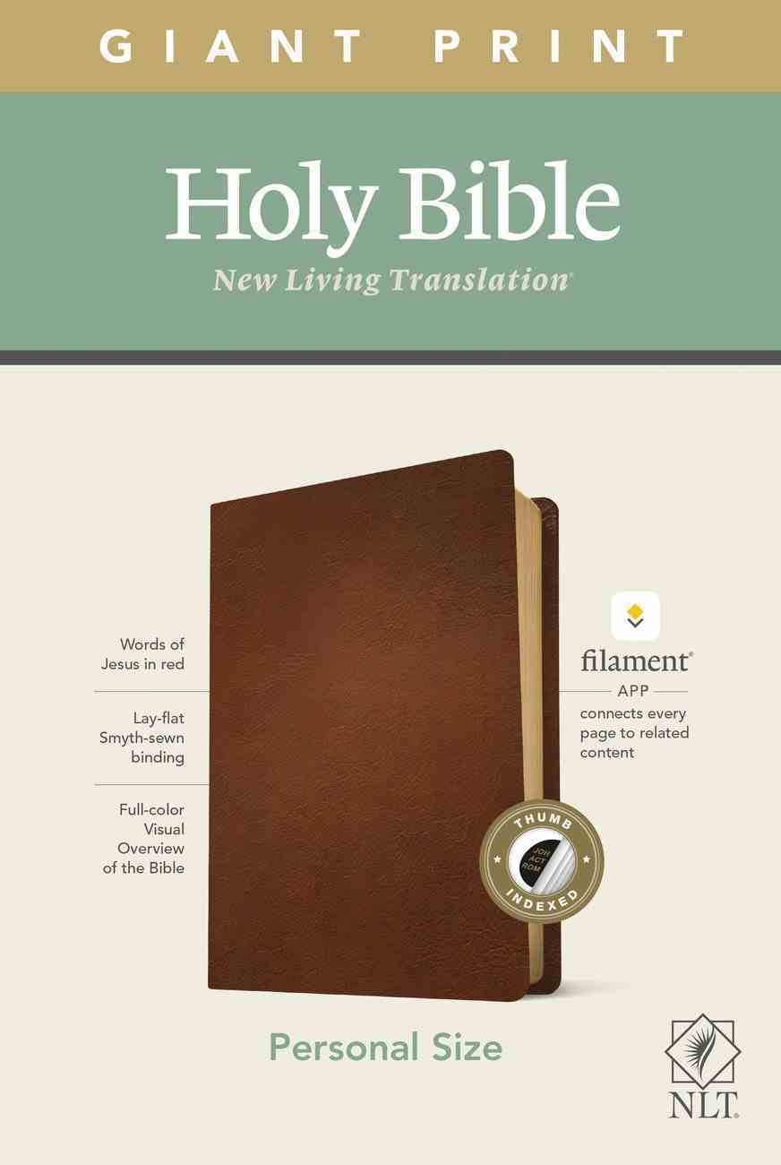 NLT Personal Size Giant Print Bible Filament Enabled Edition Indexed Brown (Red Letter Edition) Genuine Leather