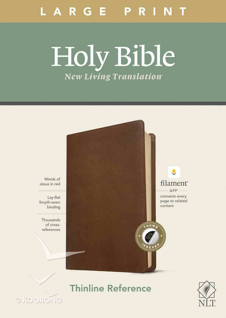 NLT Large Print Thinline Reference Bible Rustic Brown Indexed Red Letter (Filament Enabled Edition) Imitation Leather