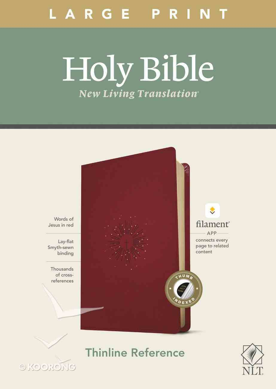 NLT Large Print Thinline Reference Bible Aurora Cranberry Indexed Red Letter (Filament Enable Edition) Imitation Leather