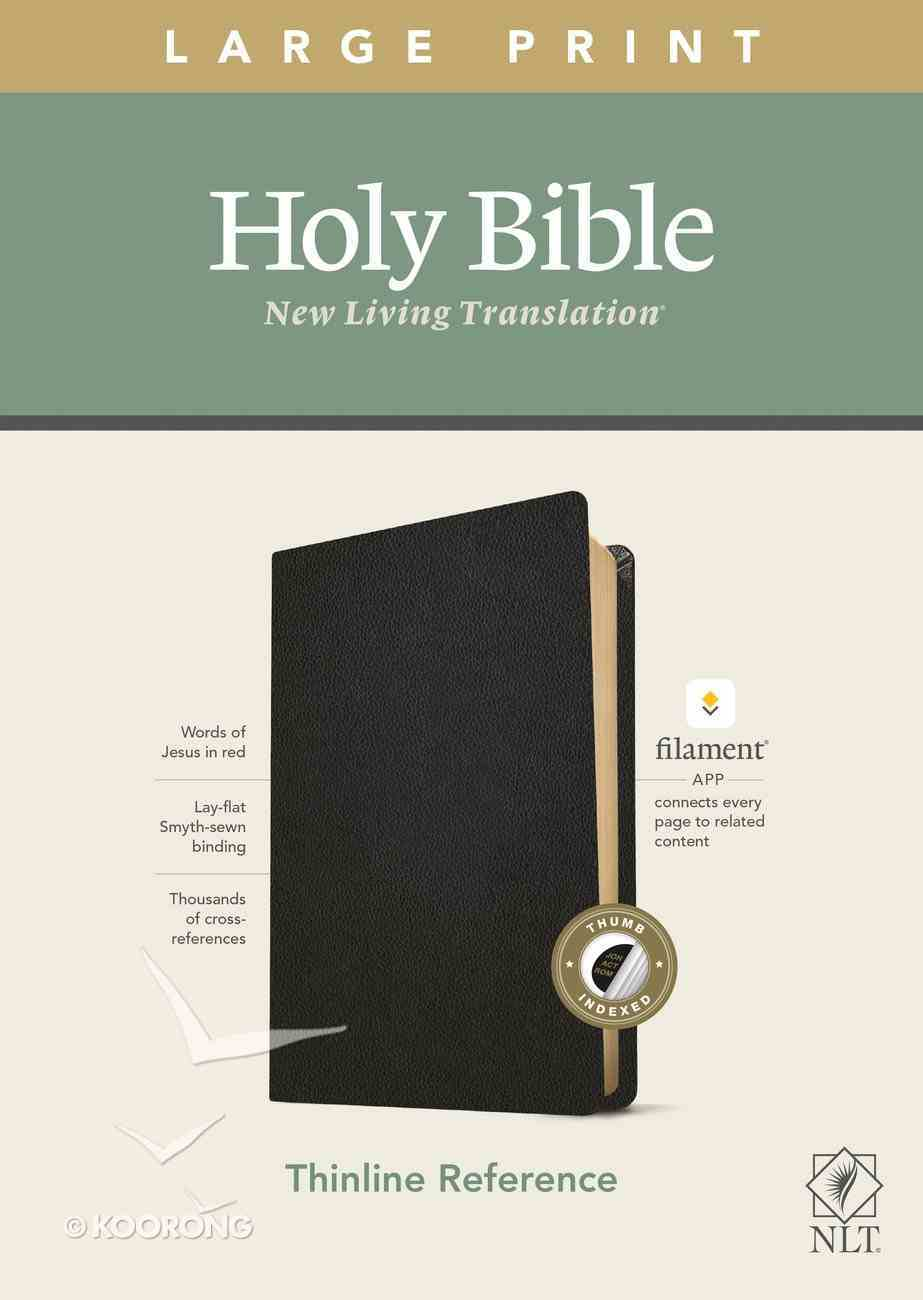 NLT Large Print Thinline Reference Bible Black Indexed Red Letter Edition (Filament Enabled Edition) Genuine Leather