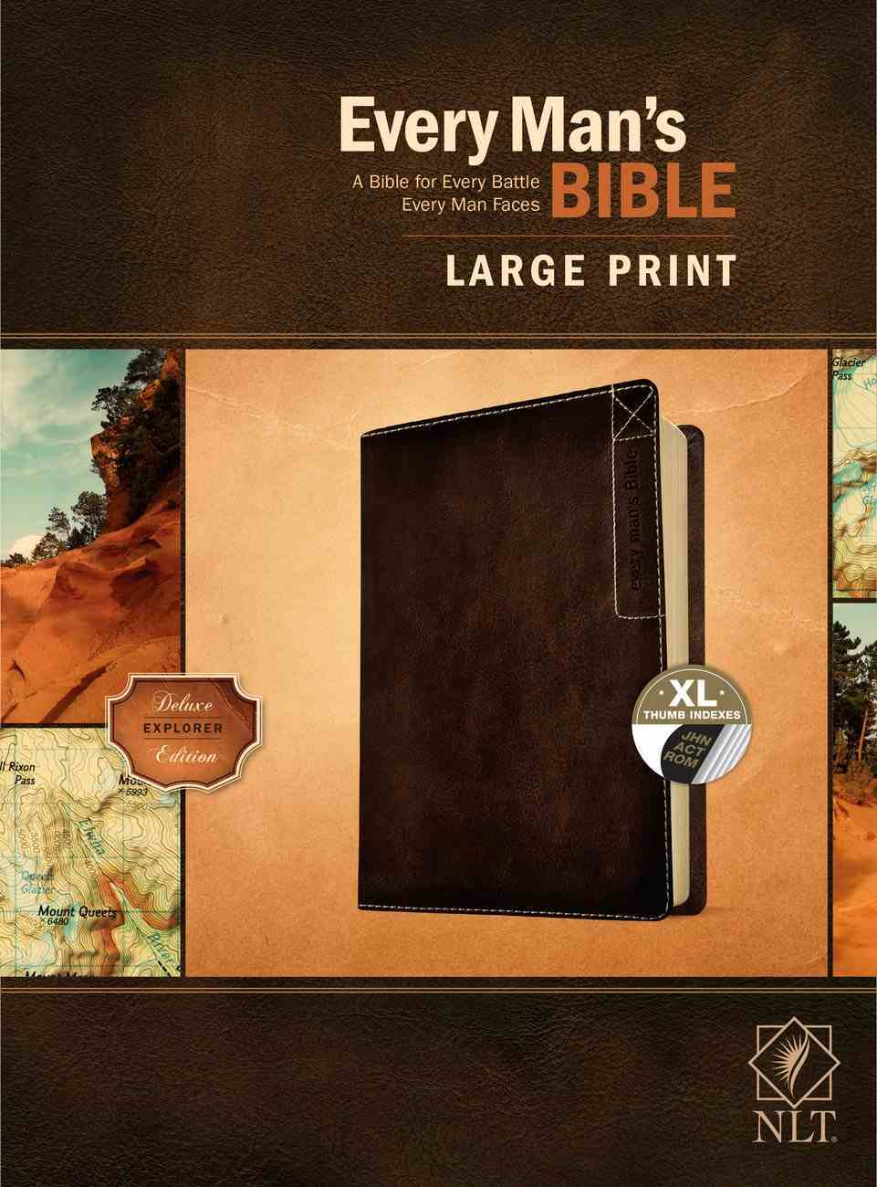 NLT Every Man's Bible Large Print Deluxe Explorer Edition Indexed Rustic Brown Imitation Leather