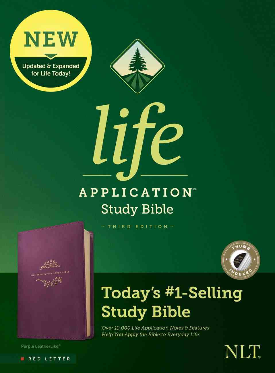 NLT Life Application Study Bible Purple Indexed (Red Letter Edition) (3rd Edition) Imitation Leather
