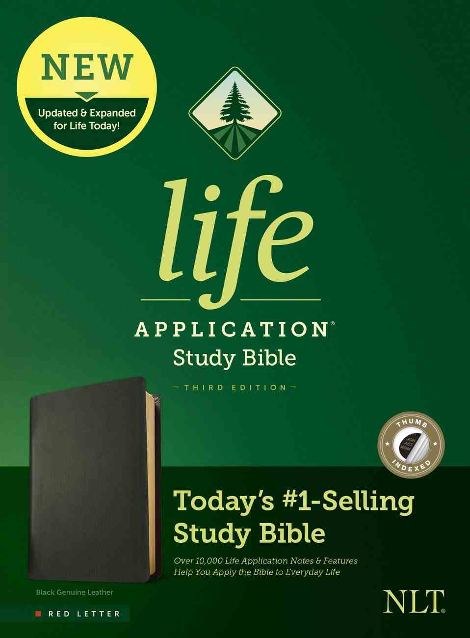 NLT Life Application Study Bible Black Indexed (Red Letter Edition) (3rd Edition) Genuine Leather