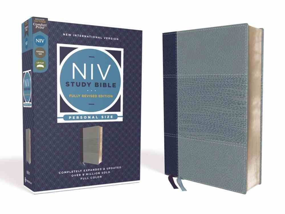 NIV Study Bible Personal Size Navy/Blue (Red Letter Edition) Fully Revised Edition (2020) Premium Imitation Leather