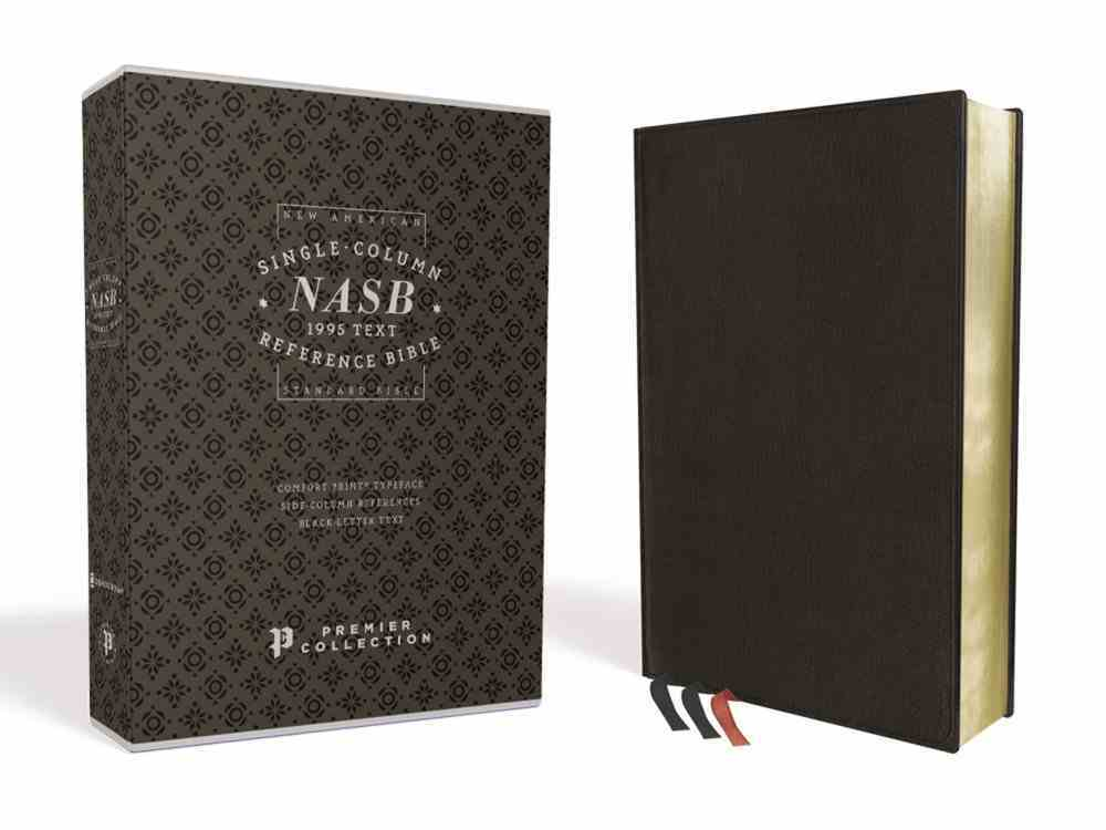 NASB Single-Column Reference Bible Black Premier Collection 1995 Text (Black Letter Edition) Genuine Leather